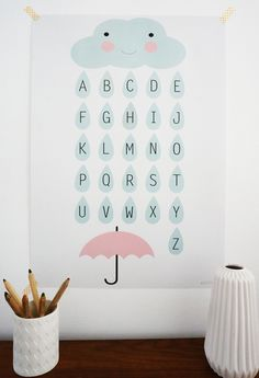 Poster für das Kinderzimmer, Alphabet mit Wolken / cute nursery poster, little clouds with letters by annakernchen via DaWanda.com