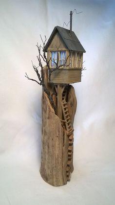 Driftwood Sculpture Art Driftwood House by ModartDiorama on Etsy: