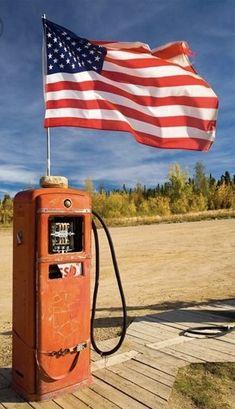 Old Gas Pump And American Flag Boundary Alaska American Spirit, American Pride, American Flag, Old Gas Pumps, Vintage Gas Pumps, I Love America, God Bless America, America America, A Lovely Journey