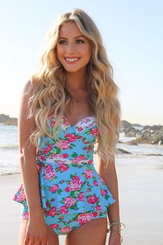 Pink Desert's Floral Peplum Tankini top - fun and flirty for the beach!