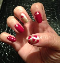Red and gold Valentine's nails