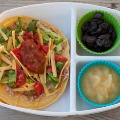 Sandwich free lunch idea!! This isn't hard to send to school... Add the toppings to a container with a lid  and let the kids build their tostada during lunch!! So yummy!  This is what we had today. by superhealthykids