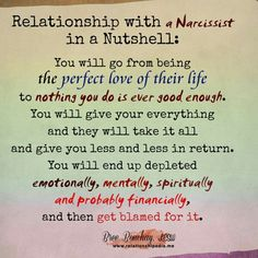 Narcissist - oh yes, this is exactly what happened