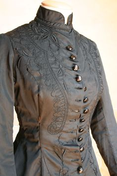ravensquiffles: Part Three Mourning dress in two pieces, black silk faille embroidered in black with decorative lacing c. 1877 Abiti Antichi (via winebreadandart)