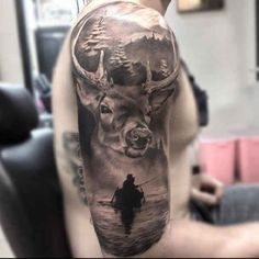 Tattoo deer and Anglerboot  - http://tattootodesign.com/tattoo-deer-and-anglerboot/  |  #Tattoo, #Tattooed, #Tattoos