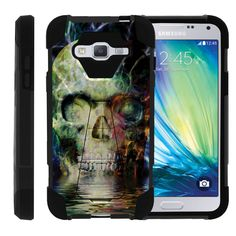 Samsung Galaxy J3 Case, Amp Prime Hard Case, Express Prime Case [SHOCK FUSION] High Resistant Fitted Hybrid Dual Layer Case with Hard Kickstand by Miniturtle® - Colorful Water Skull