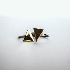 New City Triangle rings   Silver & Gold #turkish #silver #gold #rings #jewelry #fashion #turklynpazaar www.turklynpazaar.com