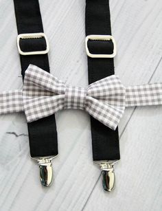 Black Suspender and Gray Gingham Bow Tie Set. Weddings, Church, Concerts, Boys, Toddlers. Babies, Photo shoot
