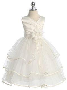 Ivory 3 Tier Ruffle Skirt Flower Girl Dress (Sizes Infant-14 in 2 Colors)