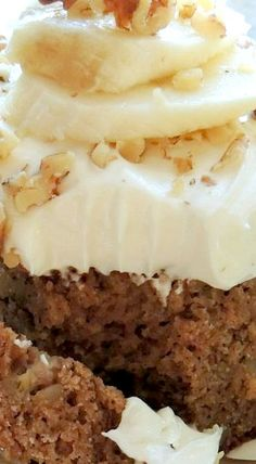 Spiced Banana & Walnut Cake ~ This quick & easy homemade Spiced Banana & Walnut Cake with Cream Cheese Frosting is a wonderful treat and a great way to use up those bananas on your counter!