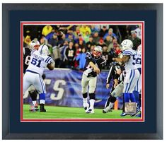 """Tom Brady 2013 New England Patriots Playoff Action - 11 """"x 14"""" Framed/Matted Photo"""