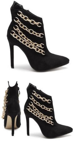 Black Chain Embellished Booties