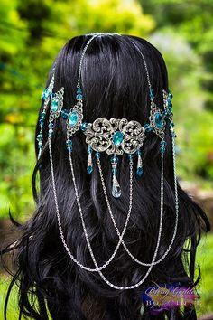 Azuras Dream Silver & Azure Blue Goddess by BlingGoddessBoutique