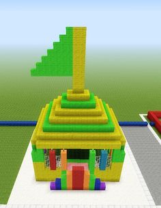 Minecraft Bouncy Castle! Click on picture for info on how to make it yourself, or for more building ideas