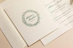 Faire-part couronne d'olivier chic • Papeterie mariage L'Atelier d'Elsa Elsa, Bullet Journal, Chic, Olive Wreath, Wedding Stationery, Quirky Wedding, Atelier, Shabby Chic, Elegant