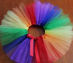 Rainbow TuTu - Length of waist based on clothing size. Time to make some for my pretty pretty Princesses! Rainbow TuTu - Length of waist based on clothing size. Time to make some for my pretty pretty Princesses! Diy Tutu, Tutu En Tulle, Rainbow Tutu, Rainbow Outfit, Rainbow Baby, First Birthday Tutu, Rainbow Birthday Party, Tutu Outfits, How To Make Tutu