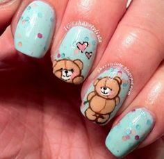 Find images and videos about cute, nails and bear on We Heart It - the app to get lost in what you love. Crazy Nail Art, Cute Nail Art, Get Nails, Hair And Nails, Nail Art For Kids, Healthy Nails, Types Of Nails, Fabulous Nails, Nail Arts