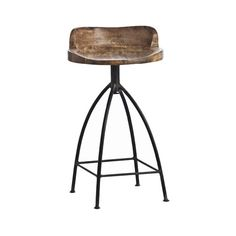 """The handsome Henson Counter Stool from ARTERIORS Home brings a touch of rustic style to your dining room, kitchen, or living room. Artfully crafted, this classic design pairs a traditional iron base with a swiveling mango wood seat.   Product: Swivel counter stool       Construction Material: Iron and mango wood  Color: Natural   Features: Sandblast antique waxed finish     Dimensions: 28"""" H x 16"""" W"""