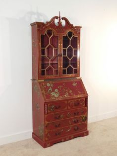 Maitland Smith Oxblood Red Chinoiserie Hand-Decorated Secretary Bookcase #Federal #MaitlandSmith