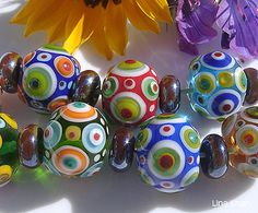 Lampwork Beads And colorful dot beads