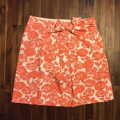 J. Crew floral skirt NWOT in cream and coral JCrew bright floral flare skirt. NWOT perfect for spring! Features super cute bow in front. J. Crew Skirts