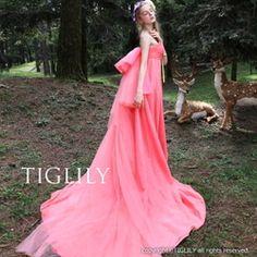 ウェディングドレス、ウエディングドレス、カラードレス、ピンク、バックリボン、エンパイア
