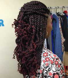 Brown+Kinky+Twists+With+Burgundy+Highlights