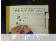 Freebie sight word center