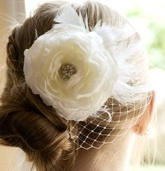 Romantic Vintage Wedding Hair Piece, Wedding Fascinator head piece, Bridal Hair Flower Clip / Hair Flower special occasion. $39.50, via Etsy.
