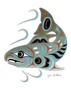Pacific Northwest salmon by Joe Wilson. Love his work! Native American Artwork, Native American Symbols, American Indian Art, American Women, American Indians, American History, Art Haïda, Tatouage Haida, Haida Art