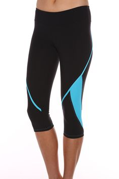 Zig Zag 3/4 Length Sprint Tight - Black/Sky Blue :: Blockout Clothing - womens fashion, sporting, gym, dresses, skirts and much more...