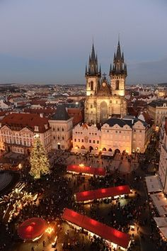 An illuminated christmas tree sits in the centre of the christmas market in Prague's Old Town Square, Czech Republic - Christmas trees from around the world