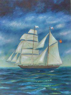 Pintura de Beato Ten Prenafeta     2- Bergantí Goleta Soberano II  -  Márcia Müller - 42X59cm