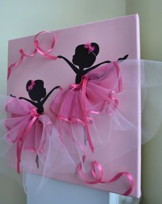 12 X 12 Dancing Ballerinas canvas painting in pink. Decorated with tulle and pink ribbon. Great wall decor for any baby or toddler girls room. Cute gift idea for little ballerina lovers. Kids Crafts, Diy And Crafts, Craft Projects, Projects To Try, Arts And Crafts, Paper Crafts, Diy Y Manualidades, Room Wall Decor, Little Girl Rooms