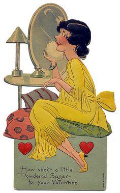 Powdered Sugar - Valentine - c. 1930 : Powdered Sugar - Valentine - c. My Funny Valentine, Valentine Images, Vintage Valentine Cards, Saint Valentine, Vintage Greeting Cards, Valentine Day Crafts, Vintage Ephemera, Vintage Holiday, Vintage Postcards