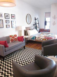 336 sq. ft. NYC studio apt. small apartments, studio spaces, rug, studio apartments, studio apt, tiny apartments, tiny spaces, small spaces, studio living