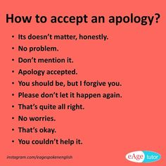 """How to accept an apology? Other words to say instead of """"its ok"""" #learnenglish #words #apology #eagespokenenglish"""