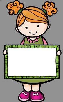 Kids Holding Signs Clip Art by Whimsy Workshop Teaching | Teachers Pay Teachers Classroom Labels, Classroom Posters, Classroom Decor, Class Decoration, School Decorations, Diy And Crafts, Crafts For Kids, Paper Crafts, Drawing For Kids