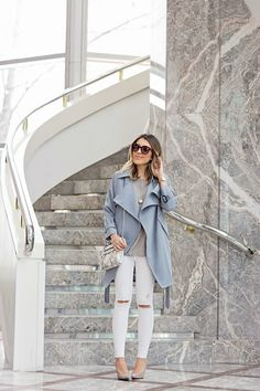 BUY NOW: SPRING STAPLES - Trench + White Denim + Grey Suede Pumps