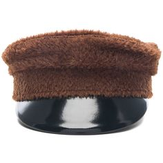 Ruslan Baginskiy Baker Boy Hat (€125) ❤ liked on Polyvore featuring accessories, hats, brimmed hat, newsboy hats, leather hat, leather brim hat and news boy cap