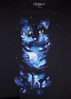 bbc2af0c Hybrid Apparel Space Galaxy Cat T Shirt Size Large Black #HybridTees # GraphicTee Space Cat