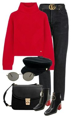 Citizens of Humanity, Versace, Gucci, Manokhi, MANGO and Oliver Peoples Mode Outfits, Trendy Outfits, Fashion Outfits, Dress Outfits, School Outfits, Polyvore Outfits, Fall Winter Outfits, Autumn Winter Fashion, Spring Outfits