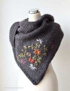 Frida Shawl, and My Embroidery-on-knit Adventure Embroidery on knit and crochet in a few easy steps}, http_status: window.Frida Shawl_knitting Frida Shawl_knitting pattern by Miss NerissGray knit shawl with touches of embroidery for extra beauty. Love Knitting, Knitting Patterns Free, Knit Patterns, Hand Knitting, Knitting Machine, Snood Knitting Pattern, Stitch Patterns, Designer Knitting Patterns, Amigurumi Patterns