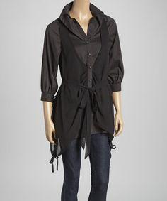 Look what I found on #zulily! Black Tie-Waist Button-Up Top by Ryu #zulilyfinds