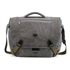 BAGSMART Camera Messenger Shoulder Bag for SLRDSLR Cameras  156 Macbook Pro 155L Grey * More info could be found at the image url.
