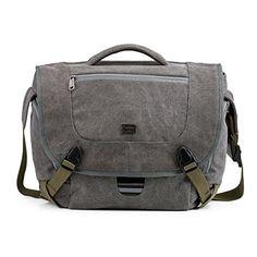 BAGSMART Camera Messenger Shoulder Bag for SLRDSLR Cameras  156 Macbook Pro 155L Grey * More info could be found at the image url.