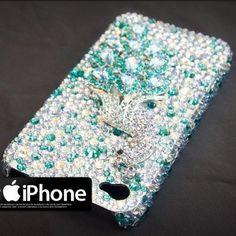 Handmade Diamond Crystallized Swarovski iPhone 4 Case Peacock Blue