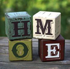 HOME wood cube block set