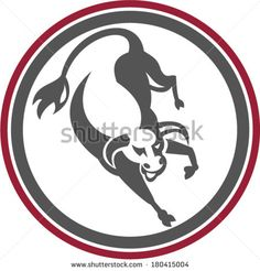 Illustration of an angry raging bull jumping facing front set inside circle done in retro style. - stock vector #bull #retro #illustration