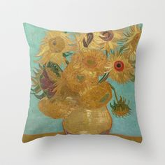 Sunflowers by Vincent Van Gogh Throw Pillow by ArtMasters - $20.00